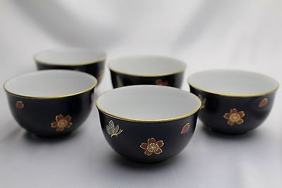Japanese antique tea cup set cherry blossom & butterfly porcelain X 5