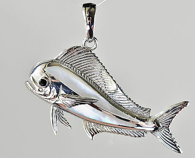Silver Mahi Mahi Pendant Inlaid With Mother Of Pearl. Announce Your Success.