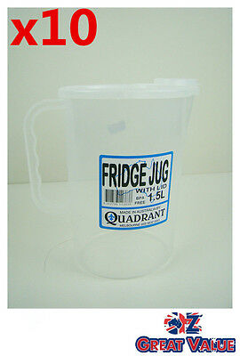 10pc Fridge Jug With Lid 1.5L Plastic Clear Transparent Cup Jug Quadrant Q113838
