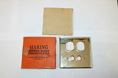 Vintage Glass Mirror Switch  Plate NOS Haring Switch Plate Co Perkasie PA