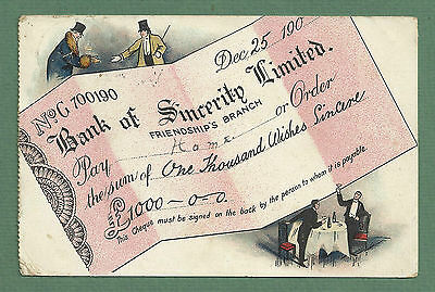 1906 Pc Bank Cheque Illustration - Bank Of Sincerity Ltd
