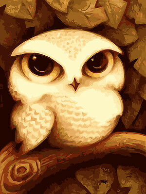 """Painting DIY Acrylic Paint By Number Linen Canvas 12""""x16"""" kit -Owl Lovely Cute"""