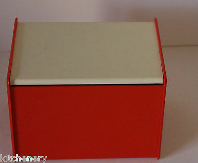 Orange Salt Box Recipe Card Holder Plastic White Hinge Lid Collectable Vintage