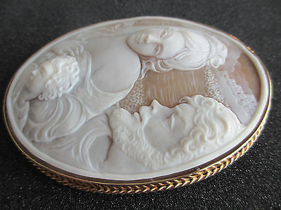 "Vintage Antique Cameo Brooch 3.85"" x 2.94""  Signed F Esposito. 14k gold setting"