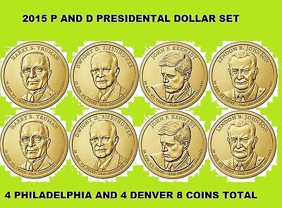 Complete set P&Ds 2015 Presidents 8coin set.
