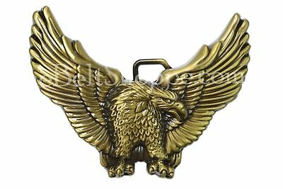 American Eagle Spread Wings Motorcycle Bronze Finish Metal Belt Buckle - NEW