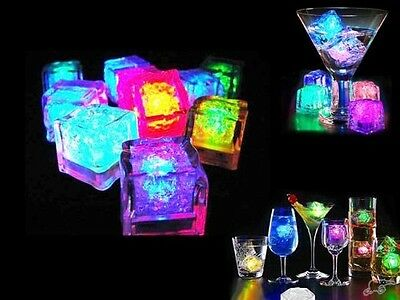 12 led flash ice cubes Color luminous in water push button night light party