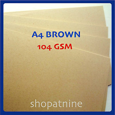 50 x A4 Brown Kraft Paper Sheet 104 GSM Card Natural Recycled Invitation Wedding