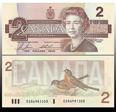 Canada 1986 (two) $2 Dollar Bill Canadian Note Mint Uncirculated CRISP