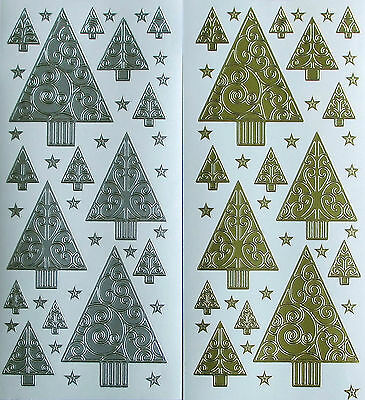 Christmas Trees & Stars Peel Off Stickers Gold Or Silver Tree Cardmaking