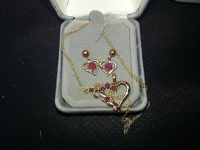 *REDUCED* Heart Necklace & Earrings  Natural Ruby Diamond Solid 10kt Yellow Gold