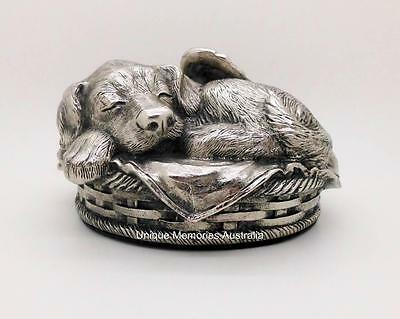 Silver Resting Pet Puppy Dog Memorial Cinerary Cremation Funeral Urn up to 25kg