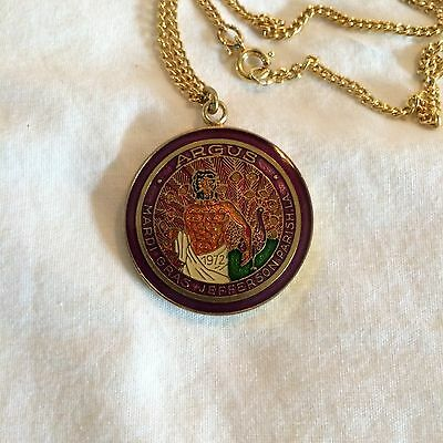 Argus 1982 Cloisonne Mini Looped Doubloon with chain