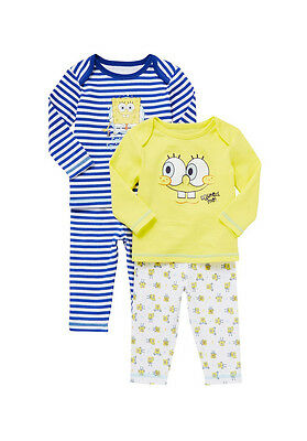 2 Pack 100% Cotton  Baby Boys & girls Sponge Bob  Pyjamas 3 months to 3 years