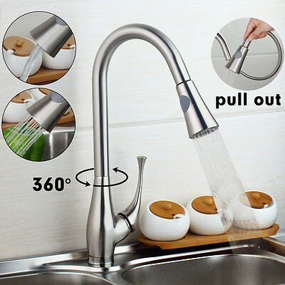 SPG40 Brushed Nickel Finish Pull Out& Swivel Kitchen Sink Faucet Taps