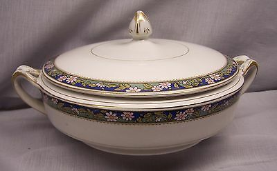 ALFRED MEAKIN  COVERED BOWL   Pink flowers on a blue & green band  gold trim