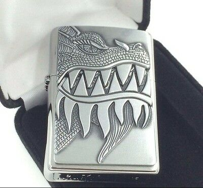 """Zippo """"Firebreathing Dragon"""" Brushed Chrome Windproof Lighter #28969 New In Box"""