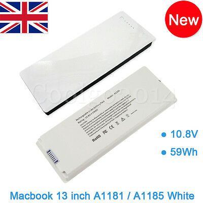 """Rechargeable battery For Apple MacBook 13""""inch A1181 A1185 MA561 MA566 WHITE UK"""