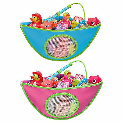 Kids Baby Bath Time Toy Tidy Storage Suction Cup Triangle Bag Organizer Holder