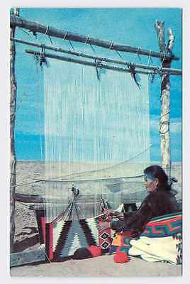 Vintage Postcard North American Native American Weaves Blanket On Outdoor Loom