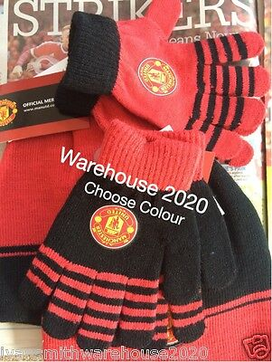 Manchester United  Beanie Hat + Gloves set Boys Red or Black fully licenced