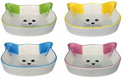 Cat Face Shaped White Ceramic Cat Bowl with Coloured Ears Choice of 4 Colours