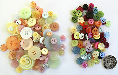 100 New BUTTONS PASTEL + 100 SMALL MIXED BUTTONS - Assorted Sizes & Shades