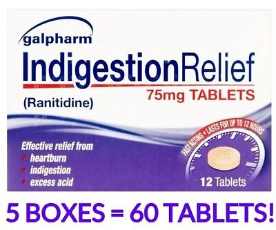 5 x GALPHARM RANITIDINE 75mg TABLETS RELIEF - HEARTBURN INDIGESTION EXCESS ACID