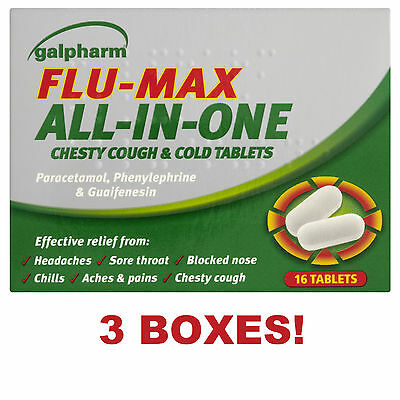 3 x GALPHARM FLU MAX ALL IN ONE CHESTY COUGH & COLD TABLETS - SORE THROAT