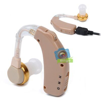 USB Rechargeable Behind Ear Hearing Aid Adjustable Amplifier Sound Audiphone【UK】