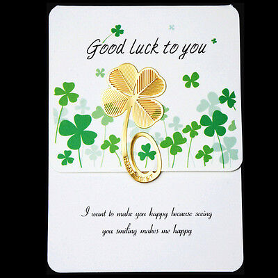 Creative Golden Four-leaf Clover Fiction Books Reading Metal Clip Bookmark avis
