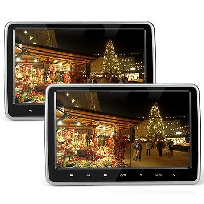 "2x 10"" HD Digital Dual Screen Monitor Slim Car Headrest DVD Player HDMI USB Game"