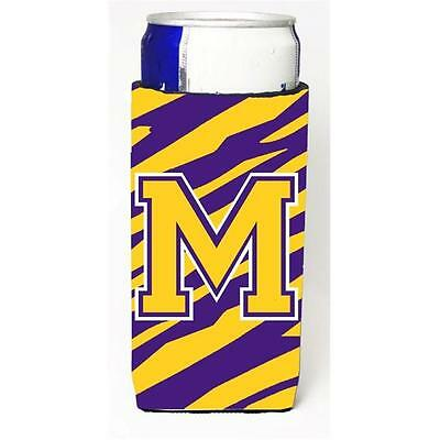 Tiger Stripe Purple Gold Monogram Letter M Michelob Ultra s For Slim Cans