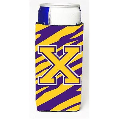 Tiger Stripe Purple Gold Monogram Letter X Michelob Ultra s For Slim Cans