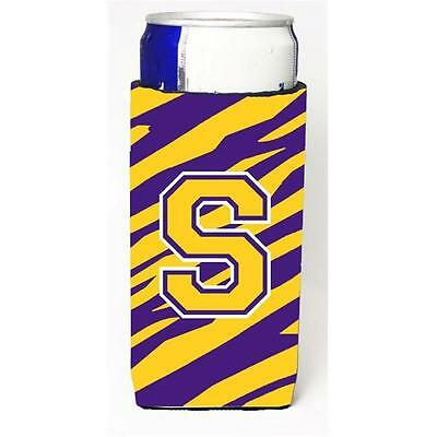 Tiger Stripe Purple Gold Monogram Letter S Michelob Ultra s For Slim Cans