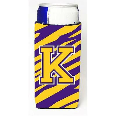 Tiger Stripe Purple Gold Monogram Letter K Michelob Ultra s For Slim Cans