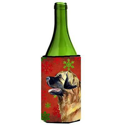 Leonberger Red and Green Snowflakes Holiday Christmas Wine Bottle Hugger