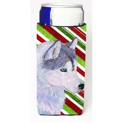 Siberian Husky Candy Cane Holiday Christmas Michelob Ultra s for slim cans