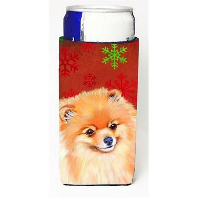Pomeranian Red and Green Snowflakes Holiday Christmas Michelob Ultra s for sl...