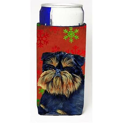 Brussels Griffon Red and Green Snowflakes Holiday Christmas Michelob Ultra s ...