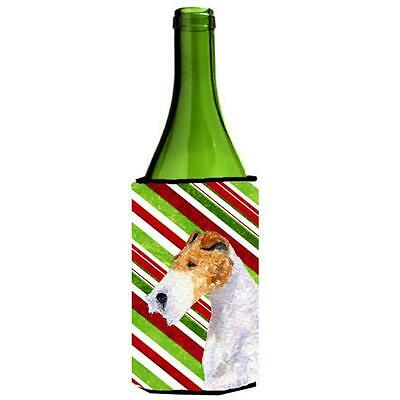 Fox Terrier Candy Cane Holiday Christmas Wine Bottle Hugger 24 oz.