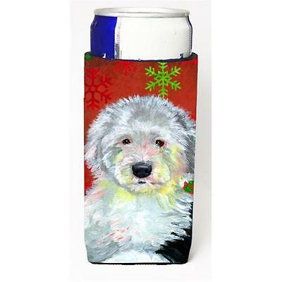 Old English Sheepdog Red Green Snowflakes Holiday Christmas Michelob Ultra s ...