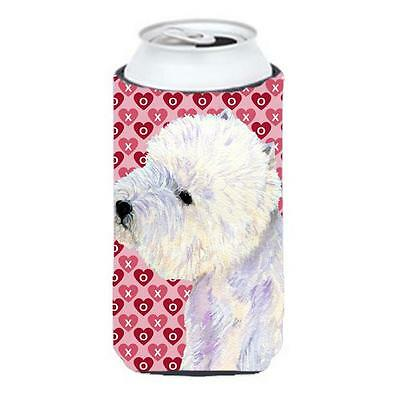 Westie Hearts Love And Valentines Day Portrait Tall Boy Hugger 22 To 24 oz.
