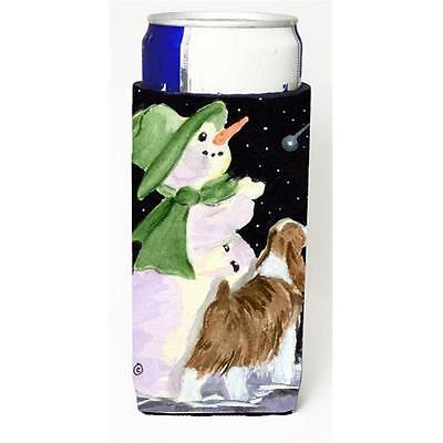 Snowman With English Springer Spaniel Michelob Ultra s For Slim Cans 12 oz.