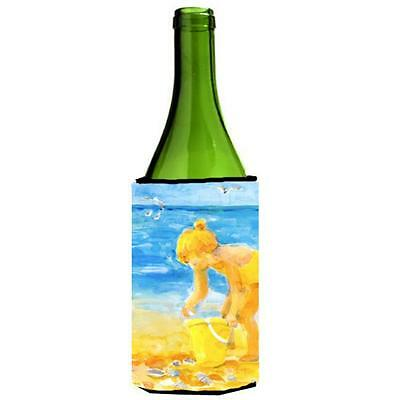 Carolines Treasures Little Girl At The Beach Wine Bottle Hugger 24 oz.