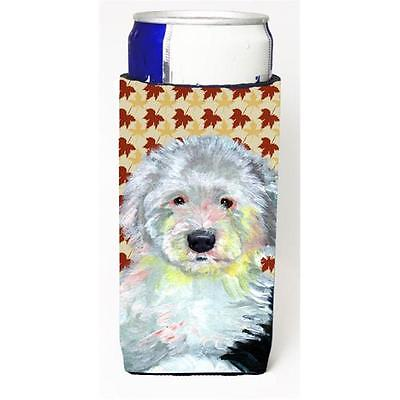 Old English Sheepdog Fall Leaves Portrait Michelob Ultra s For Slim Cans 12 oz.