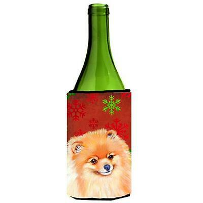 Pomeranian Red and Green Snowflakes Holiday Christmas Wine Bottle Hugger