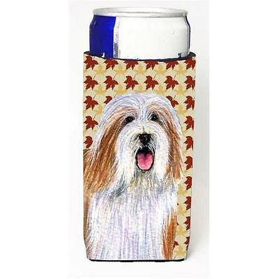 Bearded Collie Fall Leaves Portrait Michelob Ultra s For Slim Cans 12 oz.