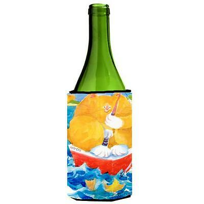 Carolines Treasures Big Orange Tabby Fishing Wine Bottle Hugger 24 oz.