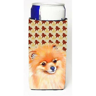 Pomeranian Fall Leaves Portrait Michelob Ultra s For Slim Cans 12 oz.